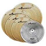 Arborea MT Series Entry Level Gold Color Low Volume Mute Quite Silent Cymbal Pack...