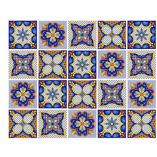 Poromoro Fliesenaufkleber, spanisch, portugiesisch, Azulejo-Stil, zum Abziehen und Aufkleben, 20/30/40 Stück 5.9 Zj