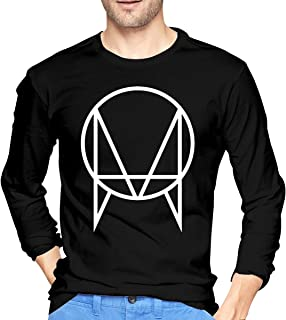 White Owsla Skrillex Mens T-Shirt Round Neck Print Long Sleeve Tee Tops Black