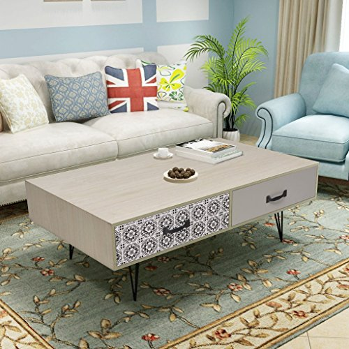 Festnight Table Basse Design Scandinavee en MDF avec Tiroirs Meuble Banc TV 100 x 60 x 35 CM