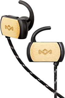 House of Marley, Voyage Bluetooth Wireless Earbuds - Sweatproof IPX4, Noise-isolating, In-line Microphone with 3-button Remote, Durable Tangle Free Cable, Travel Stash Bag, EM-FE053-SB Signature Black