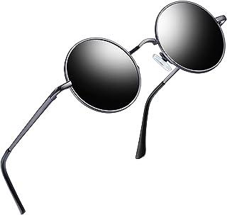 Redondas Gafas de sol Polarizadas Retro Vintage John Lennon Círculo Metálico Hippie Steampunk para Hombres y Mujeres UV400