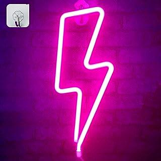 XIYUNTE Rayo luz de neón Señales luminosas LED Relámpago señales de neón Iluminación de ambiente rosado Rayo Iluminación de interior decoración para el dormitorio infantil, bar, reunirse, navideña