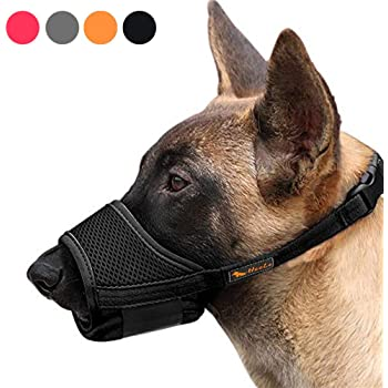 RAINDEE Dog Muzzle Nylon Soft Muzzle Anti-Biting Barking Secure,Mesh Breathable Pets Muzzle for Small Medium Large Dogs 4 Colors 4 Sizes