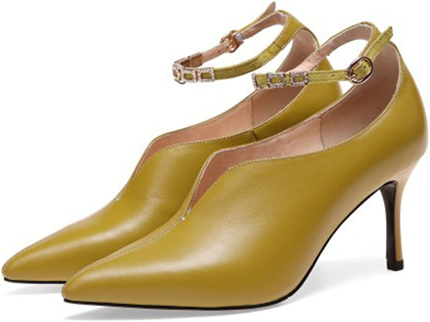 FLYSXP Women's shoes High-Heeled Court shoes Fashion Buckle Stiletto High-Heeled Dance Ball Pointed Stiletto Women's Fashion Single shoes Women's shoes (color   Mustard Yellow, Size   39 EU)