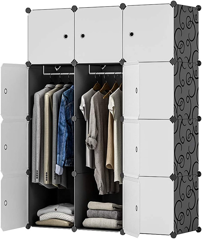KOUSI Portable Closet Wardrobe Closet Clothes Closet Bedroom Armoire Storage Organizer with Doors, Spacious & Sturdy, Extra Space & Durable Black HHRBYG-TZ (6 Cubes&2 Hanging Section)