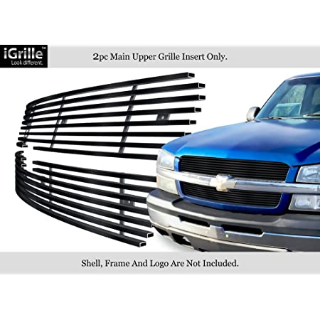 APS Premium Stainless Steel Black Horizontal Billet Grille Compatible with 2003-2006 Chevy Silverado 1500 2500 3500 /& 07 Classic /& 02-06 Avalanche Top Bumper N19-J20358C
