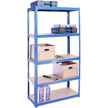 Rangement Garage: 180 cm x 90 cm x 40 cm | Bleu - 5 Niveaux | 175 kg par tablette (Capacité Totale de 875 kg) | Garantie de 5 ans