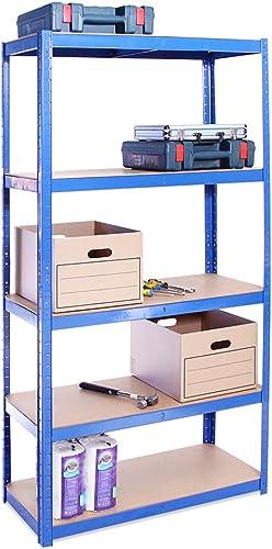 Rangement Garage: 180 cm x 90 cm x 40 cm | Bleu - 5 Niveaux | 175 kg par tablette (Capacité Totale de 875 kg) | Garan...