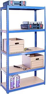 Rangement Garage: 180 cm x 90 cm x 40 cm | Bleu - 5 Niveaux | 175 kg par tablette (Capacité Totale de 875 kg) | Garantie d...