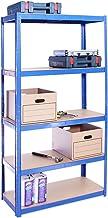 Garage rekken eenheden: 180cm x 90cm x 40cm | Heavy Duty rekken voor opslag - 1 Bay, Blauw 5 Tier (175 KG per plank), 875 ...
