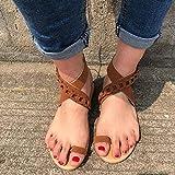 XQYPYL Mujeres Sandalias Planas Sandalias Casuales Zapatos de Verano Mujeres Peep Toe Casual Encaje up impresión Sandalias Planas,Marrón,35