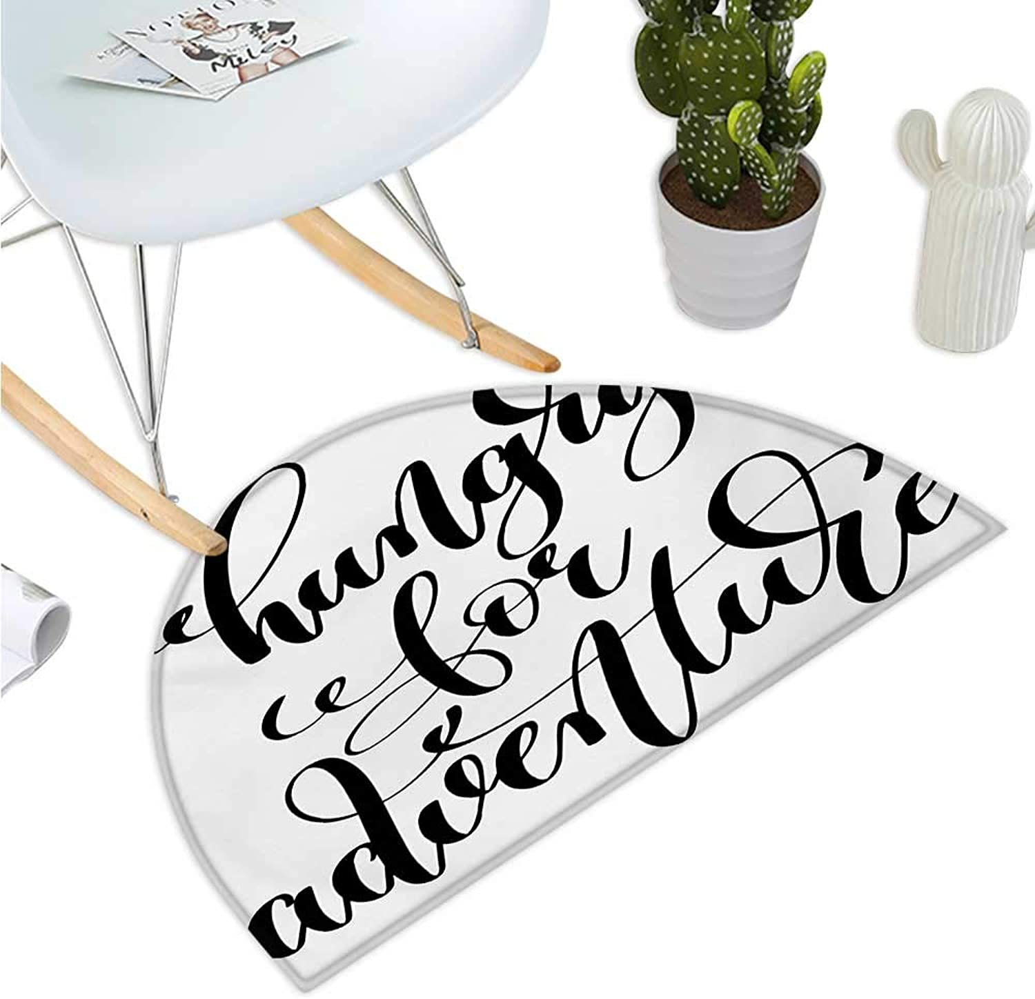 Adventure Semicircular Cushion Monochrome Quote Hungry for Adventure Journey Challenge Hand Written Letters Halfmoon doormats H 35.4  xD 53.1  Black White