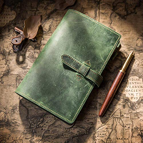 TOSISZ Leather Notebook Travelers Journal Travel Planner a5 Note BookDiary Handmade Calendar Gift Postcard Stickers,Green,A6 12x18.8cm