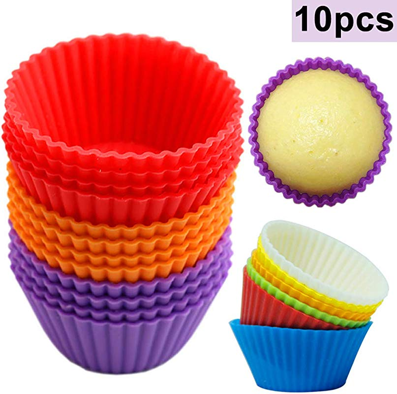 Yunbox299 10Pcs 2 76 Silicone Cupcake Muffin Baking Cups Liners Reusable Non Stick Round Silicone Cake Muffin Cupcake Mold Pastry Baking Tool Ranbowl Color Random Color