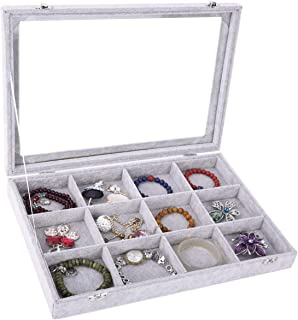 Ice Velvet Clear Lid 12 Grid Jewelry Tray Showcase Display Organizer