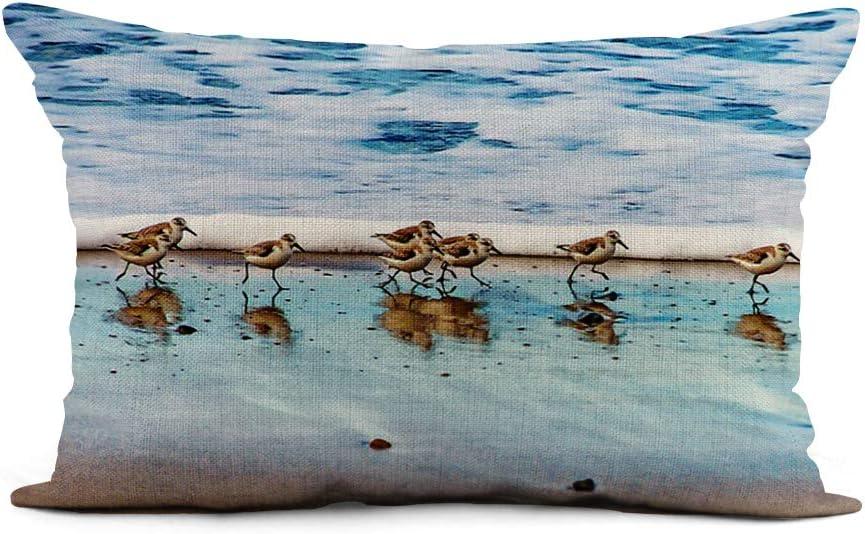 Topyee Throw Pillow Cover 12x20 Inch Shorebird Sandpipers Running Along Beach Sand Piper Nautical Ocean Home Decor Pillowcase Lumbar Pillow Case Cushion Cover for Sofa Couch Bed