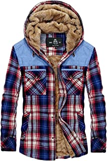 Mens Padded Shirts Lumberjack Collared Hooded Faux Fur Check Jacket Thick Quilted Work Wear Warm Thermal Fleece Lined Top ...