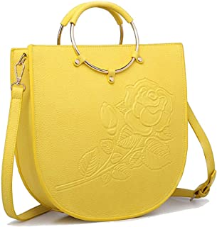 Trendy Ladies' Ring Tote Print Embossed Flower Bag Dinner Shoulder Bag Zgywmz (Color : Yellow, Size : 31 * 10 * 32cm)