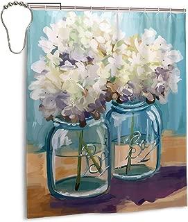 Paulino Mason Jar Hydrangea Shower Curtains Durable Bath Curtain Bathroom Decoration with 10 Hooks, 72