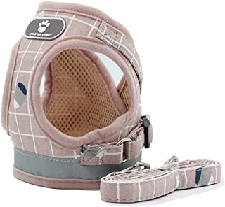 BLEVET Breathable Puppy Vest Harness Adjustable Pet Lead Chest Walking Leash for Dog Cat AU-MZ083