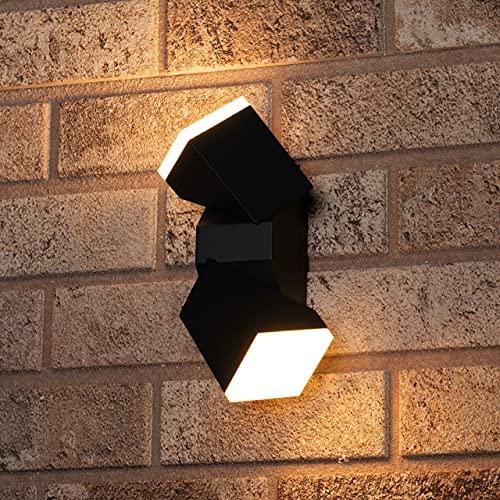 proventa® Aplique LED pared exterior 13W 590 lm IP54. Aluminio. 2 Focos orientables 340°. Luz blanca cálida 2.700K. Montaje horizontal o vertical. Color gris oscuro