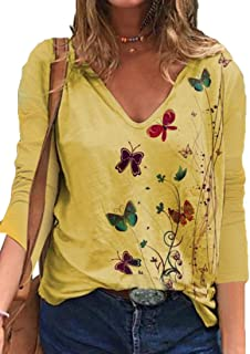 Loyomobak Women's Tops V Neck Tee Long Sleeve Print Blouse T Shirts