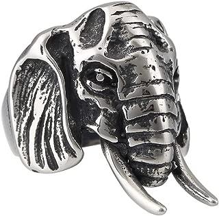 Elephants Ring 316L Stainless Steel Silver Men's Biker Jewelry Solid Ring