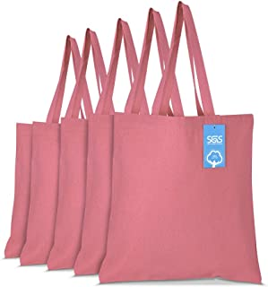 Simply Green Solutions Blank 100% Cotton Canvas Reusable Fabric Bags - Set of 5 - Tote Bags for School, Tote Bags for Groc...