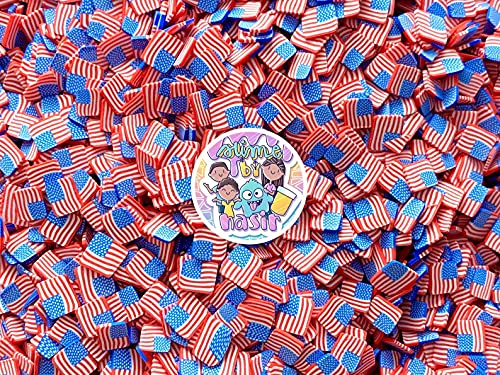 50g 4th of July Fake Clay Sprinkles Colorful Fake Candy Sweets Sugar Crystals Sprinkles Decoden Resin Cabochons Decorations for Fake Cake Dessert Simulation Food Fake Dessert (Proud to be American)