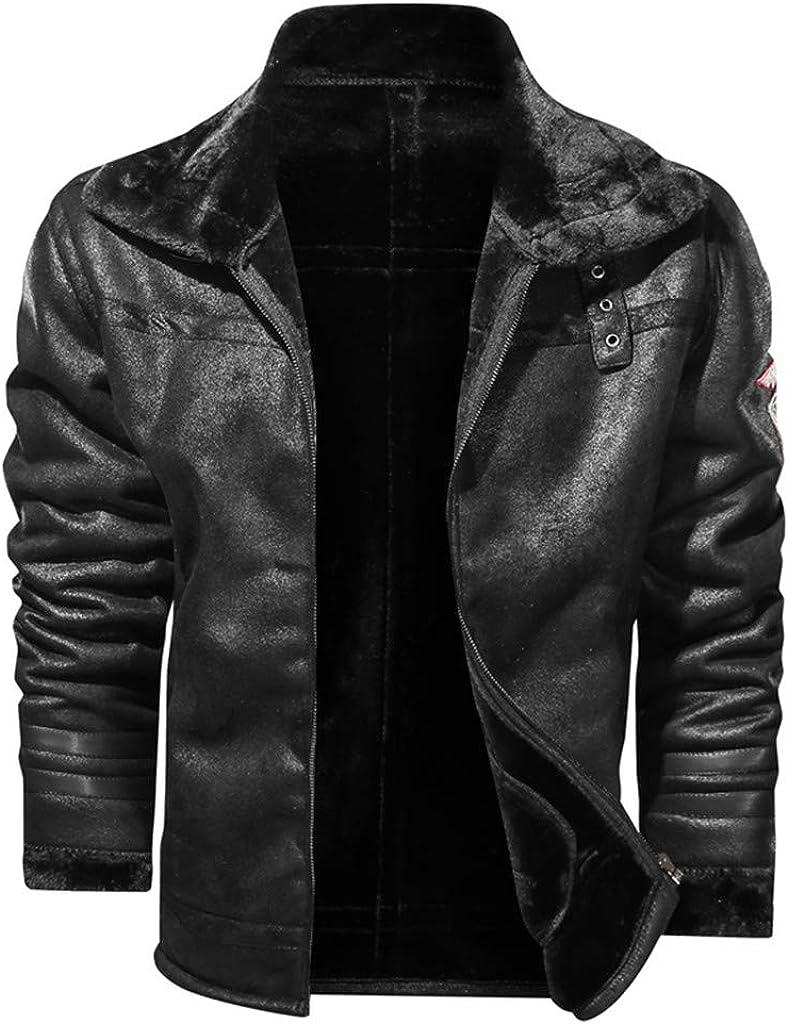 Men Leather Jackets,Vintage Classic Leather Zip Up Biker Bomber Jacket V1871