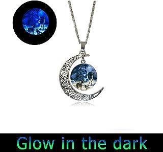 glowlala Glowing Full Moonネックレス、ネイティブアメリカンウルフネックレス、グローウルフペンダント、ウルフジュエリー、ラウンドガラスフォトペンダント、Indianネックレス
