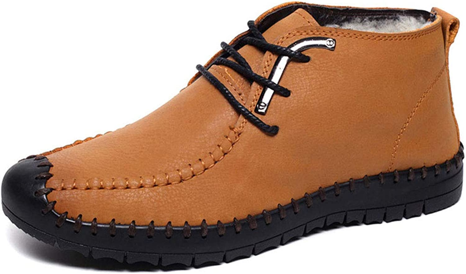 Men's Fashion shoes New Keep Warm Martin Boots Leather Lace-up Booties Outdoor Hiking shoes (color   C, Size   43)