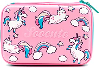 Big Capacity Pink Unicorns Cats Hardtop Pencil Case with Compartment - Girls Cute School Supply Stationery Organizer Box - Colored Pen Pouch Holder for Kids Children Toddlers (Pink Unicorns)