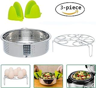 Instant Pot Accessories Steamer Basket and Egg Steamer Rack ,Stainless Steel Vegetable Steam Rack Stand for Pressure Cooker. Bonus Pair of Mini Oven Mitts(Fits Instant Pot 5,6,8 qt Pressure Cooker)