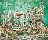 ZaosanKits de Punto de Cruz para Adultos, Principiantes, niños, Bordado de Hilo de algodón, Bordado de Punto de Cruz, Arte navideño, Lienzo preimpreso de 11 CT, Flor de Bicicleta