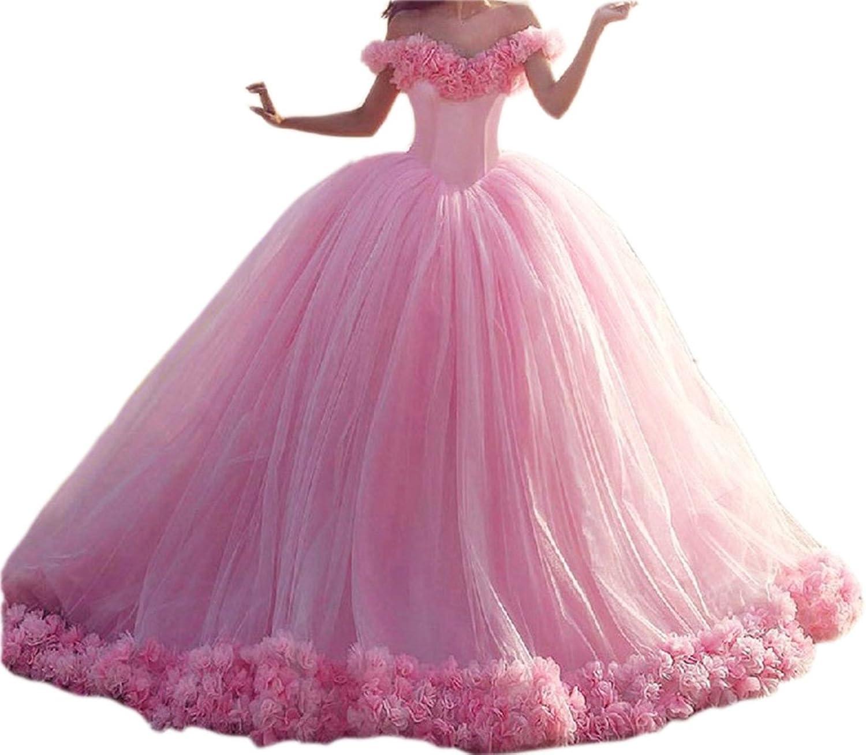 Ikerenwedding Women's OffShoulder Flower Tulle Princess Quinceanera Dress