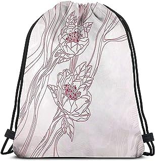 Bolsa de cordón con cordón para tirar de la mochila, bolsa de cordón de la boda, tema con rayas y flor de contorno en colores pastel bolsas de gimnasio bolsas de viaje deporte Cinch Pack