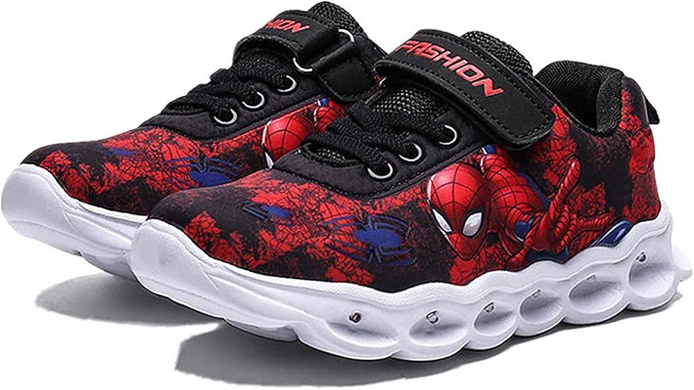 Spyokids Cartoon Fabric Flash Shoes for Boys Girls Light Up Sneakers