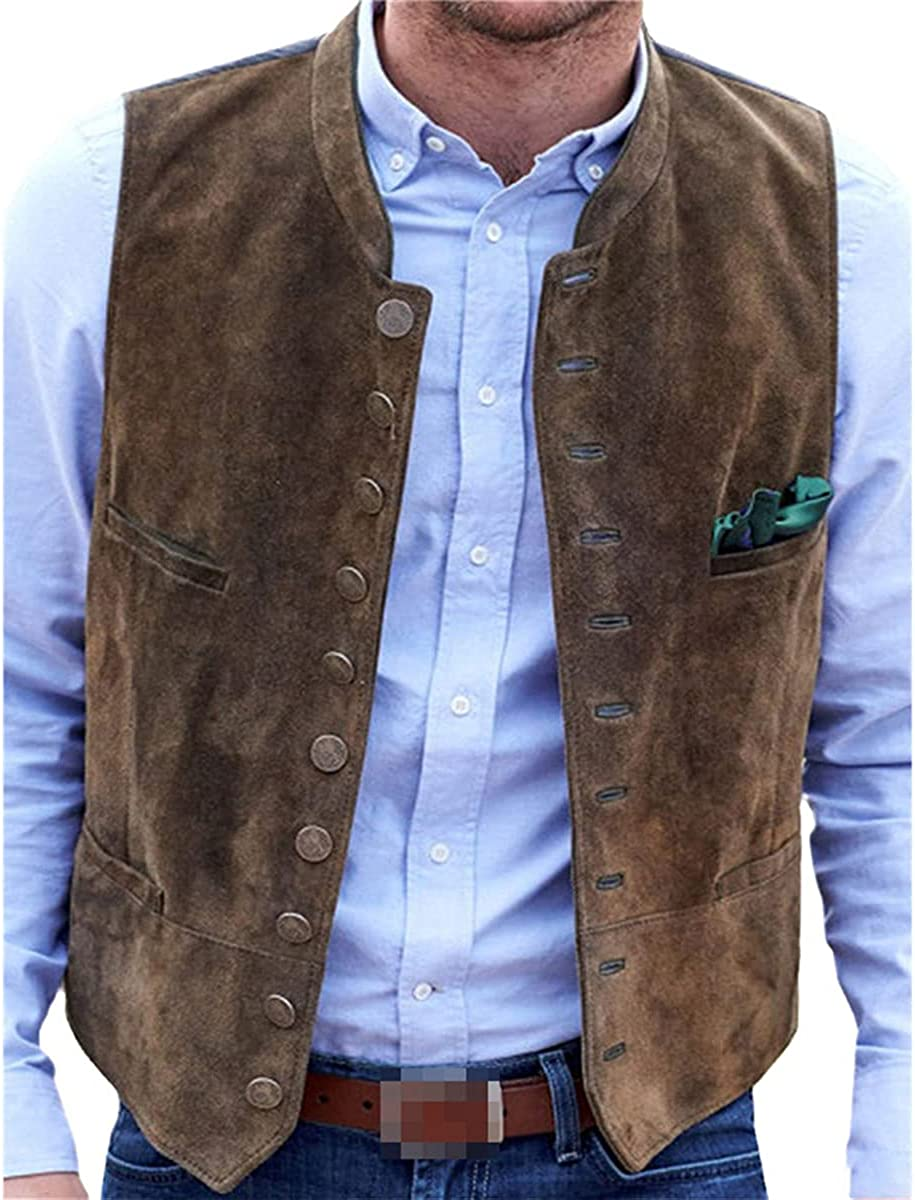 Men's suede suit vest casual steampunk style vest