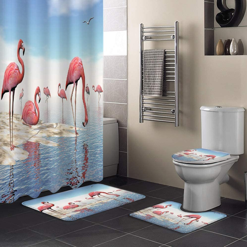 MuswannaA 4 Piece Shower Curtain Memphis Mall Sets The Import Beac Flamingos on Rest