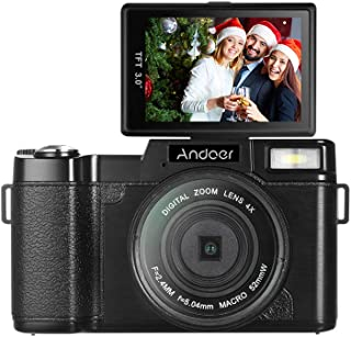 Andoer Digital Camera Vlogging Camcorder Full HD 1080P 24MP Video Camera 3.0 inch Rotatable LCD Screen Anti-shake 4X Digit...