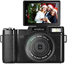 Andoer Digital Camera Vlogging Camcorder Full HD 1080P 24MP Video Camera 3.0 inch Rotatable LCD Screen Anti-shake 4X Digital Zoom with Retractable Flashlight and UV Filter