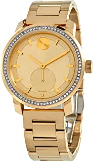 Ladies' Movado Bold Crystal Bezel Pale Gold-Tone Stainless Steel Watch 3600619