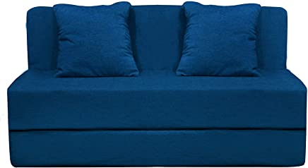 Aart High Density Foam 4x6 ft 2-Seater Sofa Cum Bed Furniture with 2 Cushions (Blue)