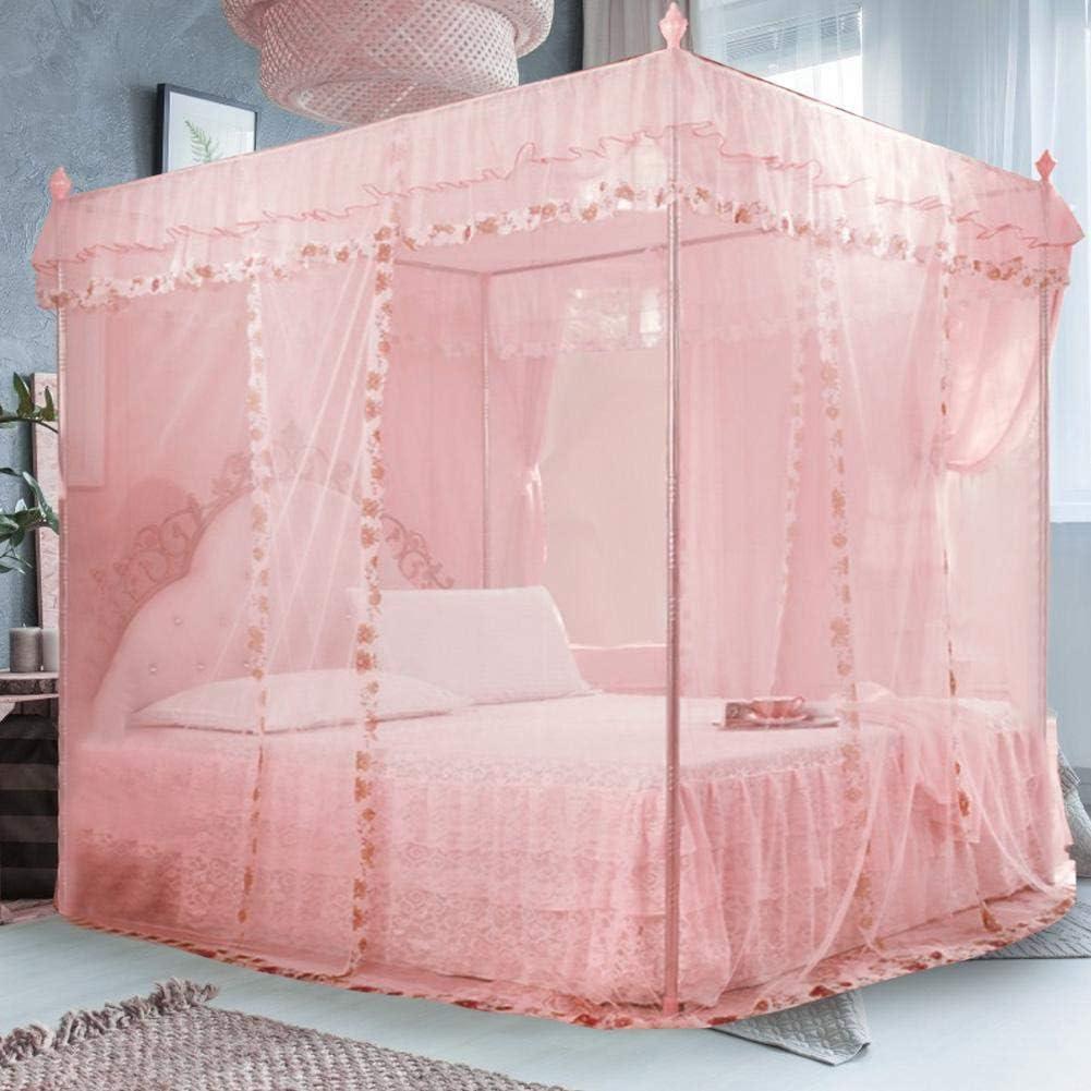 Wifehelper Rectangulaire Maille Moustiquaire de Luxe Princesse 3 Ouvertures Lat/érales apr/ès Lit Rideau Canopy Filet Moustiquaire 120 * 200 * 200cm-rose