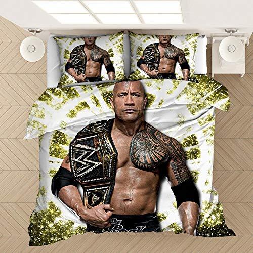 Juego de cama para hombres, funda nórdica y funda de almohada impresa en 3D del campeón de lucha libre de la WWE, adecuada para una cama individual doble king size-4_210 * 210 cm (3 piezas)