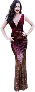 Sirena Vestido de Fiesta Terciopelo Lentejuela gradiente Largo para Mujer EZ07767