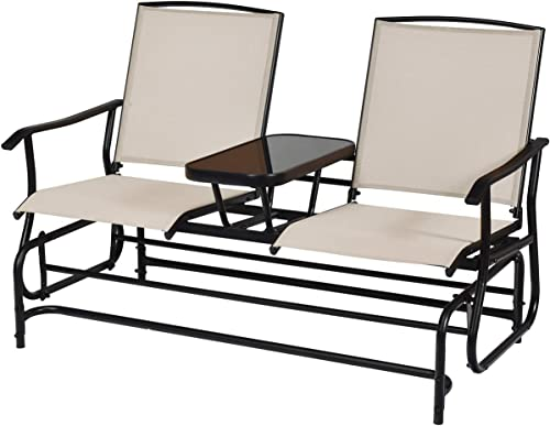 new arrival Giantex Patio Glider Chair Outdoor W/Mesh Fabric online and lowest Center Tempered Glass Table Rocking Loveseat for Patio, Garden, Poolside, Balcony Swing Rocking Chair (Beige) outlet online sale