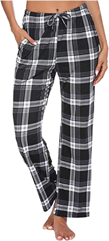 Women Lounge Pants, Comfy Pajama Bottom with Pockets Stretch Plaid Sleepwear Drawstring Bottoms Pants